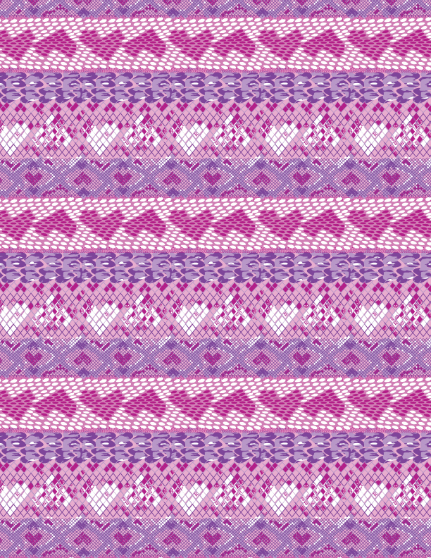 Sylvia Brewster textile print in repeat of girl's boa pattern with hearts, created in Illustrator