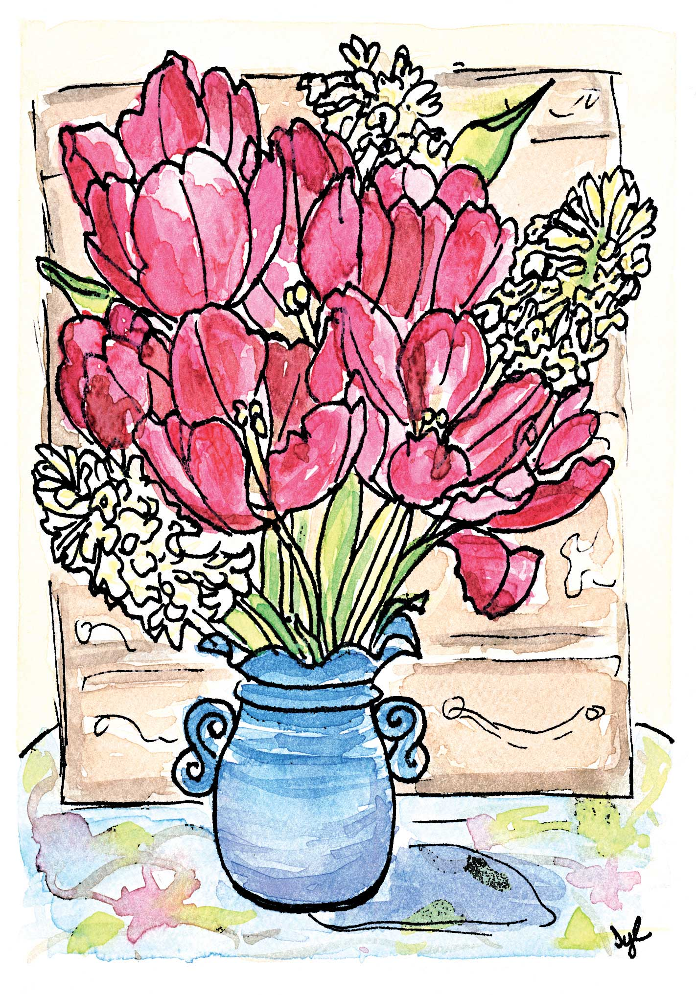Sylvia Brewster Watercolor Illustration sample of Tulip Flowers